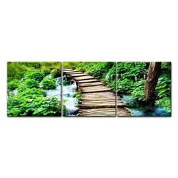 Bilderdepot24 Leinwandbild, Leinwandbild - Brücke über einen Fluß 120 cm x 40 cm