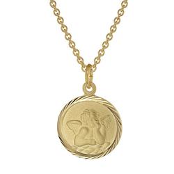 Kinder-Halskette mit Schutzengel Anhänger Gold auf Silber Halsketten gold Gr. 38,0