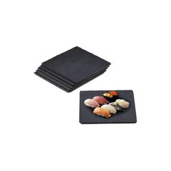 relaxdays Servierplatte Schieferplatte quadratisch 6er Set, Schiefer
