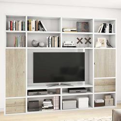 Fernseher Regal in Weiß Hochglanz und Eiche Sonoma 265 cm breit