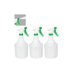 relaxdays Sprühflasche 3 x Sprühflasche weiß-grün, 1 Liter