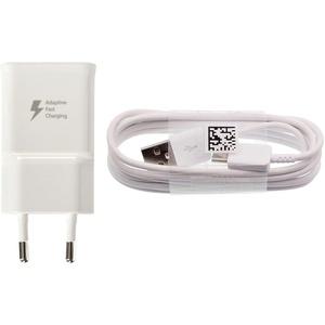 Samsung Handy Schnell Ladegerät EP-TA20 - Ausgangsleistung 2 Ampere - Ladeadapter und USB Ladekabel / Datenkabel in der Farbe Weiß - für kompatible Samsung Mobiltelefone