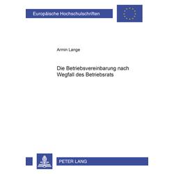 Die Betriebsvereinbarung nach Wegfall des Betriebsrats als Buch von Armin Lange