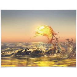 Wall-Art Poster Sonnenuntergang Wellen Surfer, Sonnenuntergang (1 Stück) 80 cm x 60 cm x 0,1 cm
