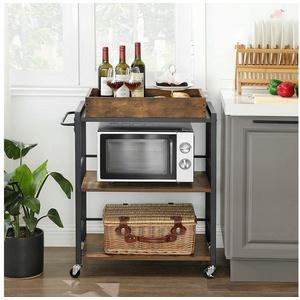 VASAGLE Servierwagen LRC72X, Küchenregal, Küchenwagen mit abnehmbarem Tablett, vintage braun
