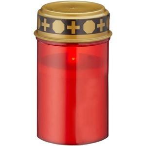 4er-Set LED Grablicht batteriebetrieben rot Grabkerze Grableuchte Grabschmuck Friedhof Trauer (4 x LED Grablicht)