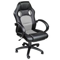 TecTake Racing Bürostuhl schwarz / grau