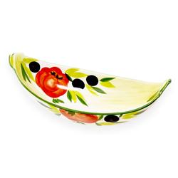 Lashuma Obstschale Tomate Olive, Keramik, (Packung, 1-tlg), Servierschale Keramik, Ovale Obstschüssel 30x14 cm