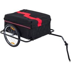 HOMCOM Transportanhänger für Fahrräder schwarz, rot 140 x 88 x 60 cm (LxBxH)   Fahrradanhänger Cargo-Trailer Lasten-Fahrradanhänger