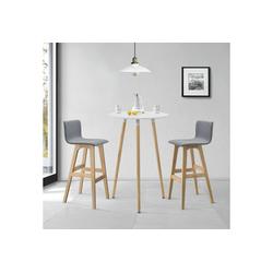 en.casa Bartisch (Set), Kemi Bartheke mit 2 Barstühlen weiß - grau