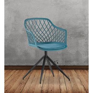 KAWOLA Esszimmerstuhl EMILIE, Stuhl Kunststoff drehbar mit Kissen versch. Farben blau