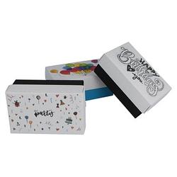 3 BUNTBOX Geburtstag M Geschenkboxen-Set weiß