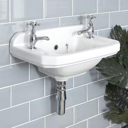Retro Handwaschbecken Richmond - 2-Loch 51,5 cm breit, Gästewaschbecken, von Hudson Reed
