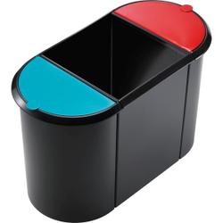 helit Papierkorb Trio-System the triple, 20 + 9 + 9 Liter, Hochwertiger Trio-System Papierkorb mit umlaufendem Griffrand, Farbe: schwarz rot/grün