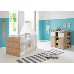 BMG Babymöbel-Set Maxim, (Set, 3-St), Bett + Wickelkommode + Unterstellregal