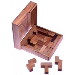 Logoplay Holzspiele Spiel, Square Puzzle - Pentomino Puzzle - Lernspiel - Denkspiel - Knobelspiel - Geduldspiel - Logikspiel aus Holz Holzspielzeug