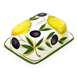 Lashuma Butterdose Zitrone Olive, Keramik, Butterschale klein, Keramik Butterbox 12x9 cm