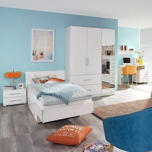 Jugendzimmer-Set Manja Bett Schrank Schreibtisch Nachtkommode 5-teilig weiß