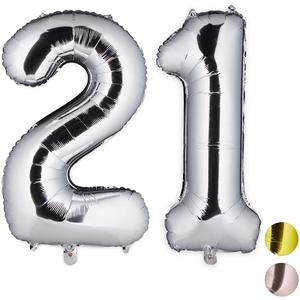 Relaxdays Folienballon Zahl, Dekoballon für 21. Geburtstag, Ösen zum Aufhängen, XXL Zahlenballon, 85-100cm, Silber, H x B x T: ca. 85 x 50 x 17 cm