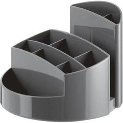 Schreibtischköcher Rondo 9 Fächer Gummifüße Briefschlitz dunkelgrau