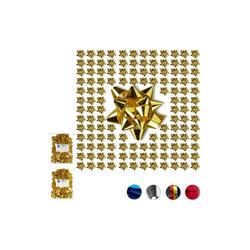 relaxdays Geschenkpapier 300 x kleine Geschenkschleifen gold