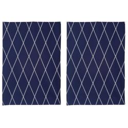 Home affaire Geschirrtuch Nervi, (Set, 4-tlg), aus Bio-Baumwolle, mit Rautenmotiv blau