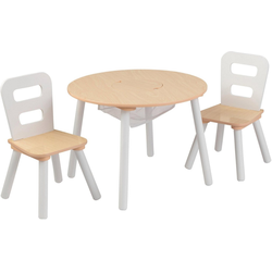 KidKraft® Kindersitzgruppe Runder Aufbewahrungstisch, (3-tlg) natur
