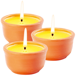 Anti-Mücken-Kerzen in Terrakotta-Schalen, 3er-Pack