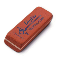 Läufer Radierer f. Blei /Farbstifte rot 55x19x8,5mm Kautsch.