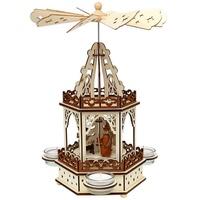 SIGRO Holz Teelichtpyramide 2 Etagen Heilige Familie