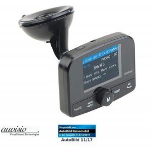 auvisio FMX-640.dab Kfz-DAB+ Empfänger, FM-Transmitter, Bluetooth, Freisprechfunktion KFZ-Transmitter Micro-USB, 3,5-mm-Klinke, Micro-SD zu Micro-USB, Wiedergabe Ihrer MP3- Dateien von microSD-Speicherkarte, Audio-Übertragung erfolgt kabellos per UKW-Signal, Freisprechfunktion dank integriertem Mikrofon