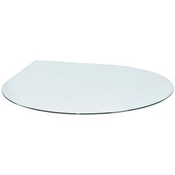 Glasbodenplatte für Kaminöfen , tropfenförmig, 120x120cm, zum Funkenschutz