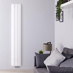 Design Paneelheizkörper Vertikal Mittelanschluss - Aluminium Weiß 1800x280mm 1152W Aurora