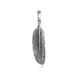 Kuzzoi Kettenanhänger Herren Anhänger Feder Symbol Talisman 925 Silber, Feder