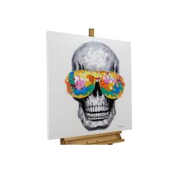 KUNSTLOFT Gemälde Funky Totenkopf, handgemaltes Bild auf Leinwand