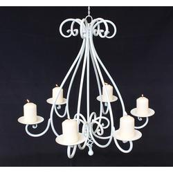 Ambiente Haus Kronleuchter Kronleuchter 95297 Weiß Kerzenhalter H-60 cm Kerzenständer Hängeleuchter Metall weiß