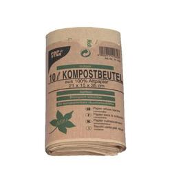 Kompostbeutel aus Papier 10L 35 cm x 21 cm x 15 cm braun (Karton), 10 Stk.