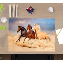 cover-your-desk.de Schreibtischaufsatz Schreibtischunterlage für Kinder – Drei Pferde – 60 x 40 cm – aus hochwertigem Vinyl, (1-St)