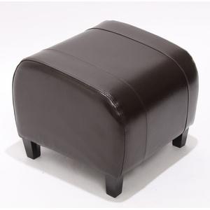 Hocker Sitzwürfel Sitzhocker Emmen, Leder + Kunstleder, 37x45x47 cm braun