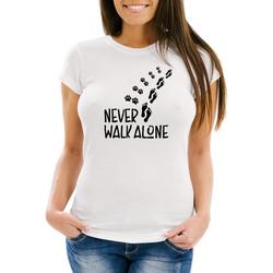 MoonWorks Print-Shirt Damen T-Shirt Never walk alone Hund Pfoten Hundepfoten Pfotenabdrücke Hundebesitzer Slim Fit Moonworks® mit Print weiß XXL