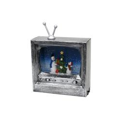 SIGRO Weihnachtsfigur LED Fernseher mit Schneemannfamilie
