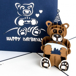 Colognecards Pop-Up Karte Happy Birth. Teddybär blau