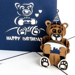 Colognecards Pop-Up Karte Happy Birth. Teddybär blau