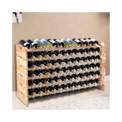 COSTWAY Weinregal Flaschenregal Weinschrank Weinflaschenhalter, für 72 Flaschen beige 29 cm x 71,5 cm x 119 cm