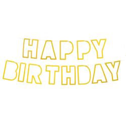 Happy Birthday Girlande Banner Geburtstag Kindergeburtstag Party Feier Deko mit Glitzereffekt - gold