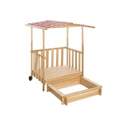 tectake Sandkasten Sandkasten und Spielveranda mit Dach rot
