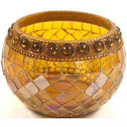 Guru-Shop Windlicht Mosaik Teelichtglas gelb