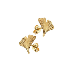 JEVELION Paar Ohrhänger Ginkgo, 585 Gold - Made in Germany