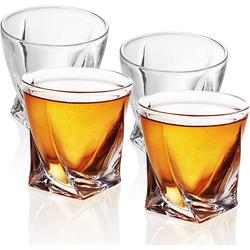 Intirilife Whiskyglas, Glas, 4x Whisky Glas in KRISTALL KLAR 'TWISTED' - Old Fashioned Whiskey Kristallglas