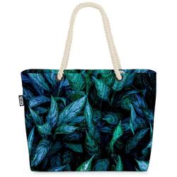 VOID Strandtasche (1-tlg), Wilde Blätter Beach Bag Blatt Farn Pflanzen Zimmerpflanzen Garten Natur Grün
